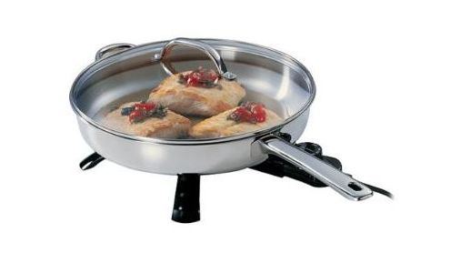 "Presto 12"" Electric Stainless Steel Covered Skillet"